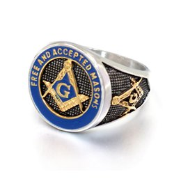 Cast silver rings online shopping - 2019 New Blue Fashion Silver Gold Color Men Masonic Ring Casting Titanium Stainless Steel Freemasonry Masonic Rings for Men s Jewelry