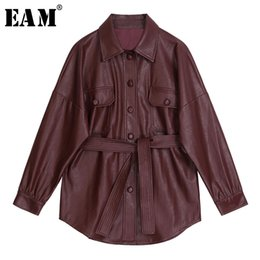 wine sleeves NZ - [EAM] 2020 New Autumn Winter Lapel Long Sleeve Wine Red Pu Leather Belt Loose Big Size Jacket Women Coat Fashion Tide JX453 Y200101