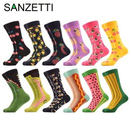 $enCountryForm.capitalKeyWord NZ - Sanzetti 12 Pairs lot Funny Pattern British Watermelon Corn Hot Dog Men Fruit Combed Cotton Causal Crew Dress Wedding Socks MX190719