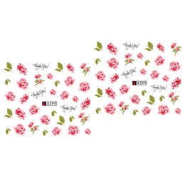 Pink rose decals online shopping - 2 Sheets Stickers Water Transfer Flower Lace DIY Rose Bow Nail Art Decal
