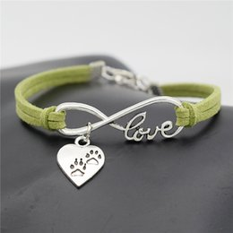 $enCountryForm.capitalKeyWord Australia - Infinity Love Puppy Cats Dogs Claw Paw Heart Pendant Charm Bracelets For Womens Mens Boho Handmade Green Leather Suede Rope Jewelry Pulseras