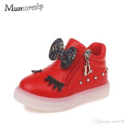 $enCountryForm.capitalKeyWord Australia - Mumoresip Kids Shoes For Baby Girl With Sequined Bow-knot Children Glowing Sneakers Luminous LED Girls Shoes Eyelash School Shoe