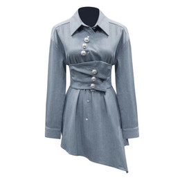 91395026 Pearls Denim Shirts Blouse Female Lapel Long Sleeve With Wide Belt  Asymmetrical Tops Women 2019 Spring Fashion Tide