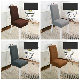Wholesale Chair Slipcovers Australia - Velvet Chair Covers Solid Dining Seat Cover Thicken Removable Seat Slipcovers Banquet Wedding Dinner Restaurant Decor 13 Colors YW3396
