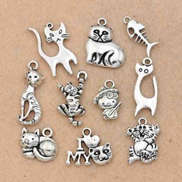 horn charms wholesale NZ - ix tibetan silver 10pcs Mixed Tibetan Silver Plated Animals Fish Bone Love My Cat Charms Pendants Jewelry Making Accessories Diy Handmade...
