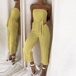 High Quality Jumpsuits Australia - Fashion 2019 Summer New Women Off Shoulder Jumpsuit Holiday Playsuit Ladies Summer Beach Rompers High Quality Gift