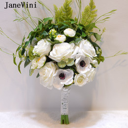 Silk White Rose Leaves NZ - JaneVini Romantic Boho Wedding Bouquet White Bridal Flowers Green Leaves Artificial Silk Roses for Bridesmaid Wedding Accessories Mariage