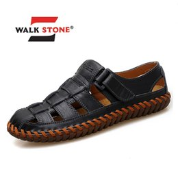 male leather sandals Canada - Genuine Leather Men's Sandals Outdoor 2019 Summer Flats Loafers Handmade Male Shoes Breathable Casual Footwear Walking Big Size