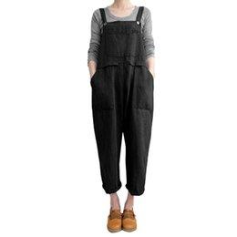 69a0ed24157 Jumpsuits Plus Size -XXXXXLWomen Sleeveless Dungarees Loose Cotton Linen  Long Playsuit Party Jumpsuit Fashion Women Gift