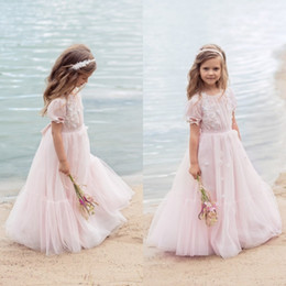 Wedding Wear For Toddlers Australia - 2019 Beach Pink Flower Girl Dresses Short Sleeve 3D Floral Applique Tulle Princess Toddlers Bohemian Kids Formal Wear For Wedding Prom Party
