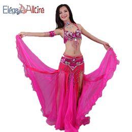 dae25ea4ee E&A 5pcs Bellydance Set Bra Skirt Necklace Bracelet Belt Sets Bollywood  Belly Dance Costume For Women Female Performance Dress