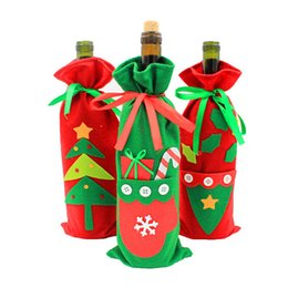 Kitchen party decor online shopping - 3 Red Wine Bottle Cover Bags Tableware Kitchen Decor Christmas Decoration For New Year Diy Party Supplies Xmas Gifts