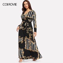 c7a3f66bb3bb COLROVIE Plus Size Black Mixed Print Striped Casual Dress Women 2019 Spring  Fashion Long Sleeve A Line High Waist Maxi Dress Y19042401