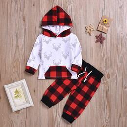 $enCountryForm.capitalKeyWord Australia - New baby kids clothes Sets Spring Autumn kids Deer head long sleeve hoodie top+Checked trousers two piece sets kids designer clothes F JY648