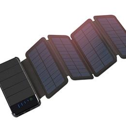 Vente en gros Banque mobile 10000mAh de puissance de chargeur de panneau solaire imperméable pliable portatif extérieur pour la batterie de téléphone portable double port d'USB