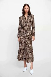 Stock Clothes Winter Australia - Women S Clothing Party Dresses Stock! Autumn and Winter Leopard Print Long Sleeves Printed Casual Dress Women's Dress