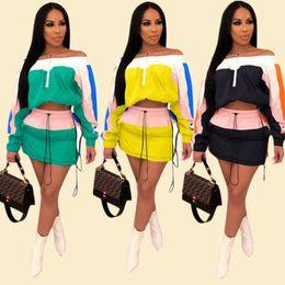 $enCountryForm.capitalKeyWord NZ - Color Match Patchwork Women Summer Tracksuit Sun-protective Outfits Long Sleeve Shoulder Out Top Jacket Short Dress 2 Piece Sportswear A3252