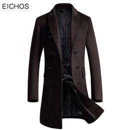 Double Breasted Wool Cardigan Men Australia - Eichos Korean Men Coat Fashion Double Breasted Cardigan Wool Coat Men Slim Long Mens Overcoat 2018 New Peacoat Manteau Homme T2190614