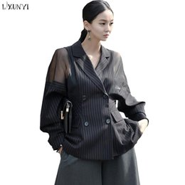 Striped ladieS jacketS online shopping - Plus Size Striped Blazer Women Batwing Sleeve Office Blazers Ladies Double Breasted Women s Spring Jacket Mesh Casaco Feminino