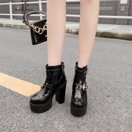 soft blocks Canada - new in boots spring women Ankle Boots Block Heel Shoes Ladies Buckle Prom Shoes cowboy botas Platform punk goth YMA939-1