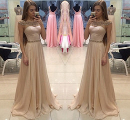 Wholesale classic portrait dress resale online – Light Champagne Cheap Prom Party Dresses Portrait Capped Sleeves A Line Chiffon Long Party Gowns with Crystals Beaded Cheap