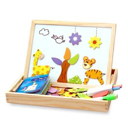 China 100+pcs Wooden Magnetic Puzzle Figure animals  Vehicle  circus Drawing Board 5 Styles Box Educational Toy Gift suppliers