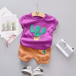 baby wearing tracksuit UK - Summer Fashion Toddler Infant Clothing Sets Baby Girls Boy Clothes Suits Cactus T Shirt Shorts Kids Tracksuits Child Casual Wear