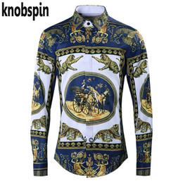 fashion dressing style men shirt 2019 - Top Brand Quality Shirt men 2019 New Fashion Royal Court Style Print chemise homme Casual Slim Business male dress Shirt