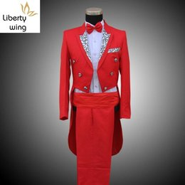 tail tuxedo wedding Australia - Fashion Wedding Formal Suit Groom Mens Clothing Tail Tuxedo Trouse Party Coats SUIT&PANTS Stage Show Costumes Set Men Suits