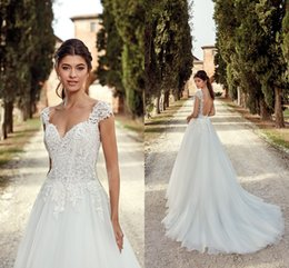 481f0d760 2019 Elegant Ivory Capped Sleeves Lace Wedding Dresses Sexy Backless A Line  Tulle Cheap Wedding Bridal Gowns Summer Beach Wedding Dress EK