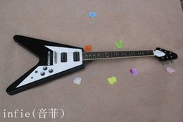 Discount guitar flying v - Free Shipping 2019 New Arrival High Quality Custom black Flying V shaped 6 strings Electric Guitar In Stock
