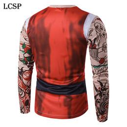 Christmas Clothes Australia - clothes men LCSP Novelty Man Santa Claus 3D Print Tattoo T-shirt 3d Printed Merry Christmas Men Long Sleeve Top T-shirt Clothes