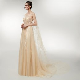 $enCountryForm.capitalKeyWord UK - Luxury Evening Dresses Round Neck Cloak Type Beaded Sequins Prom Dress Stage Performance Clothing Special Occasion Dress