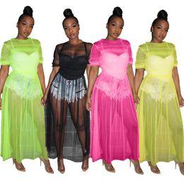 $enCountryForm.capitalKeyWord Australia - Jrry Sexy Slim Loose Long Women Dresses Mesh Short Sleeve Solid Pattern Maxi Dress Summer New Ankle Length Dress MX190727