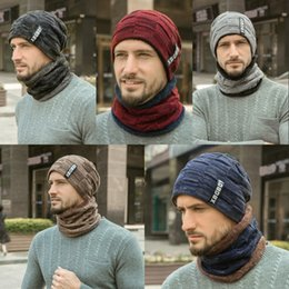 Ski baSeball capS online shopping - 2019 Colors Autumn Winter Keep Warm Hat Men Cashmere Letter Knitted Cap Collar Two Piece Suit Pure Color Beanies Scarf Caps M642F