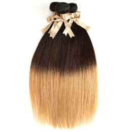 27 pcs human hair extension Canada - Unprocessed Brazilian Straight Ombre Virgin Hair Cheap 3 Pcs Straight Human Hair Bundles Ombre 3 Tone Hair Extension 1B 4 27