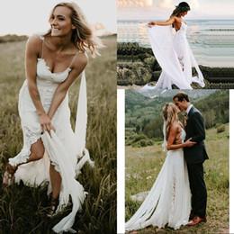 Free Size White Beach Dress Australia - Boho Wedding Dress Spaghetti Strap A Line Lace Sexy Backless Beach Wedding Gown White Ivory Bride Dress Free Shipping