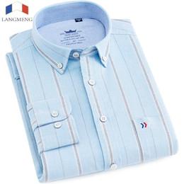 $enCountryForm.capitalKeyWord NZ - Langmeng long sleeve 100% cotton casual shirt men brand clothing fashion striped dress shirt mens male social shirt thick