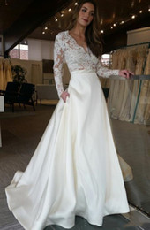 Cheap Lace Nude White Dress Australia - Graceful White A Line Wedding Dresses With Pockets New 2019 Top Illusion Lace Applique Long Sleeves Sexy Cheap Simple Garden Bridal Gowns