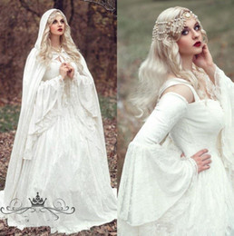 wedding bells lights NZ - Renaissance Gothic Lace Ball Gown Wedding Dresses With Cloak Plus Size Vintage Bell Long Sleeve Celtic Medieval Princess Bridal Gown