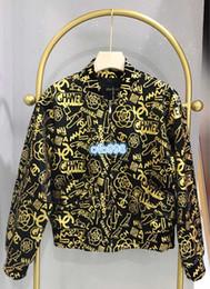 $enCountryForm.capitalKeyWord Australia - High end women tops jacket with hat Jackets Fashion Standing neck Long Sleeve Letter Graffiti gold print jacket The Female Tops Coat