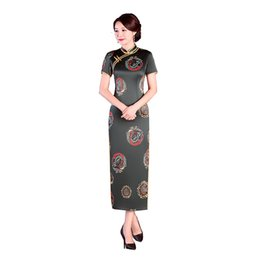 Chinese  New Stylish Ladies Short Sleeve Chinese Traditional Dresses Handmade Button Qipao Mandarin Collar Sexy Cheongsam Plus Size M-5XL manufacturers