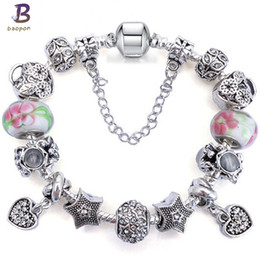 Bead Girl Boy Australia - BAOPON Silver Plated flower Crystal&Glass Beads Women charm Bracelet Fit Young Students Boy&Girl For Jewelry Gift