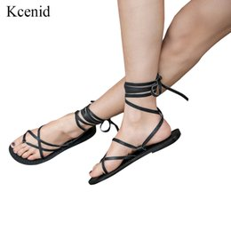 8bd4bc05f Kcenid Genuine leather summer roman sandals cross-strap tall knee high flat  ankle summer beach shoes women sandals flip flops
