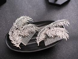 $enCountryForm.capitalKeyWord NZ - Trendy Silver Rhinestones Women Comb For Women Bride Wedding Hair Jewelry Feather Alloy Shape Hair Accessories Hair Combs