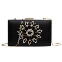 EvEning diamond bags online shopping - Women S Bag New Luxury Diamond Evening Dinner Bag Sweet Lady Shoulder Slung Chain Box Tide Black