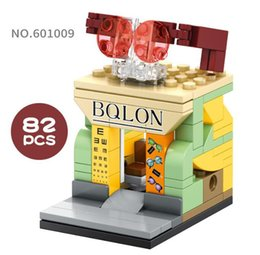 Block Stores Australia - Mini World Little Shop Series Street View Building Mini blocks 82PCS Puzzle Toys Glasses Store Gifts for Kids