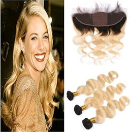ombre bleached closure UK - Bleach Blonde Ombre Silk Base 13x4 Full Lace Closure With Bundles 4pcs Lot T1b 613 Blonde Ombre Weaves With Silk Top Lace Frontal