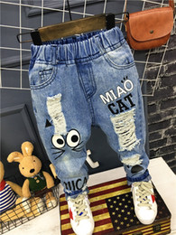 Jeans Children Cartoon Australia - Baby Boys Girls Jeans Pants New 2019 Children Trousers 1-7yrs Boys Girls Jeans Boys Casual Pants Cartoon Cat Jeans For Kids J190509