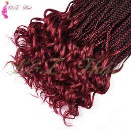 """Bulk Hair Braids NZ - Long Box Braids Crochet Hair Extensions 18"""" Ombre Kanekalon Fiber 22Roots Synthetic Braiding Hair Bulk Crochet Braids"""